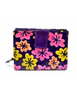 Peněženka, malovaná kůže, květiny, fialová, 9,5x12,5cm