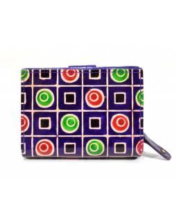 Peněženka, malovaná kůže, fialová, 9,5x12,5cm