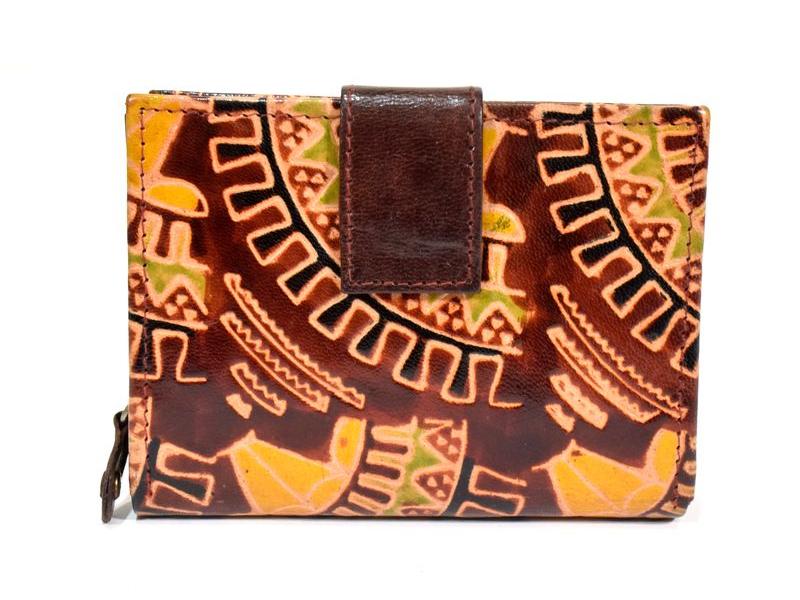 Peněženka, malovaná kůže, geometrický design, hnědá, 9,5x12,5cm