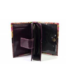 Peněženka, malovaná kůže, geometrický design, vínová, 9,5x12,5cm