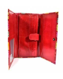 """Peněženka design """"Flowers"""" malovaná kůže, červená, 21,5x12cm"""