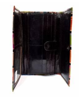 """Peněženka design """"Geometric"""" malovaná kůže, černá, 21,5x12cm"""