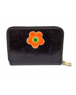 """Peněženka design """"Flower"""" malovaná kůže, černá 15x10cm"""