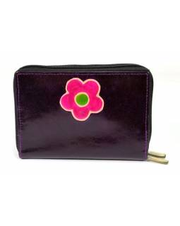 """Peněženka design """"Flower"""" malovaná kůže, tmavě fialová, 15x10cm"""