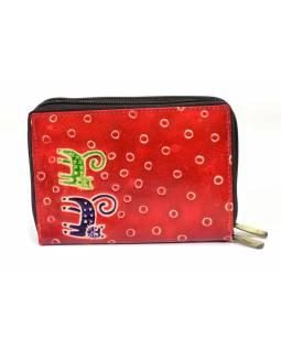 """Peněženka design """"Two Cats"""" malovaná kůže, červená s puntíky, 15x10cm"""