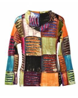 Multibarevná patchworková mikina s kapucí , prostřihy a aplikace, kapsy, zip