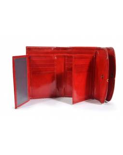 """Velká peněženka design """"Geometric"""", ručně malovaná kůže, červená,15x11cm"""