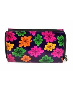 Peněženka zapínaná na zip, fialová, květiny, malovaná kůže, 17x11cm