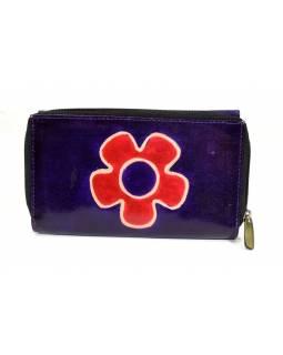 Peněženka zapínaná na zip, fialová, květina, malovaná kůže, 17x11cm