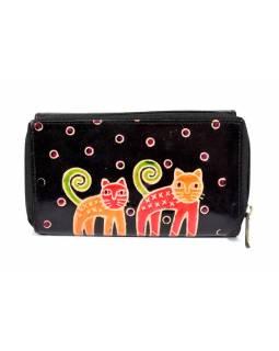 Peněženka zapínaná na zip, černá, kočky, malovaná kůže, 17x11cm