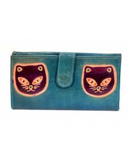 """Peněženka design """"Two Cats"""" malovaná kůže, modrá, 9x16cm"""