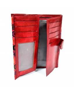 """Peněženka design """"Small Circles"""" malovaná kůže, červená, 9x16cm"""