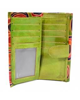 """Peněženka design """"Geometric"""" malovaná kůže, zelená, 9x16cm"""