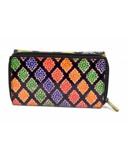 Peněženka zapínaná na zip, černá, paisley, malovaná kůže, 17x11cm