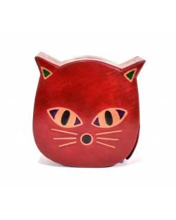 Kasička, malovaná kůže, kočka, červená, 11x11cm