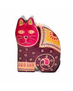 Kasička, malovaná kůže, malá kočka, vínová, 9x11cm