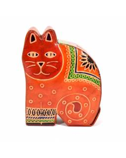 Kasička, malovaná kůže, malá kočka, oranžová, 9x11cm