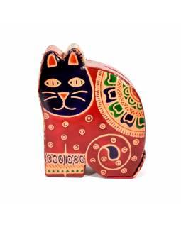Kasička, malovaná kůže, malá kočka, červená, 9x11cm