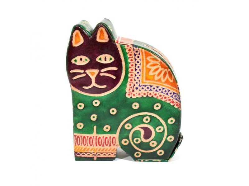 Kasička, malovaná kůže, malá kočka, zelená, 9x11cm
