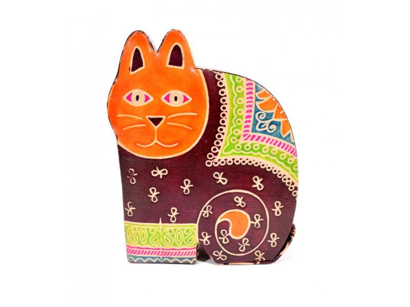 Kasička, malovaná kůže, velká kočka, vínová, 13x17,5cm