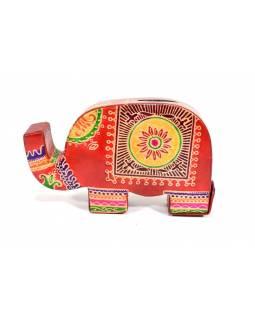 Kasička, malovaná kůže, malý slon, červená, 9x14cm