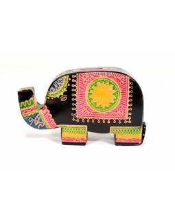 Kasička, malovaná kůže, malý slon, černá, 9x14cm
