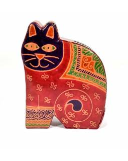Kasička, malovaná kůže, střední kočka, červená, 11x15cm