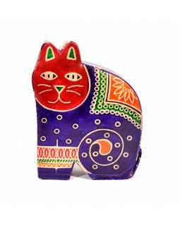 Kasička, malovaná kůže, střední kočka, fialová, 11x15cm