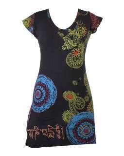Černé šaty s krátkým rukávem a potiskem mandal, výšivka