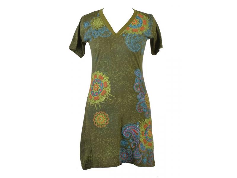 Zelené šaty s krátkým rukávem, mandala potisk, výšivka