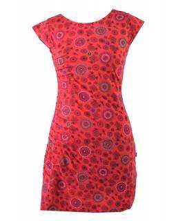Červené šaty s krátkým rukávem a celopotiskem mandal, sklady na boku, výšivka