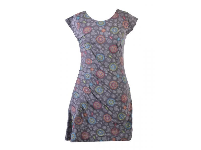 Šedé šaty s krátkým rukávem a celopotiskem mandal, sklady na boku, výšivka