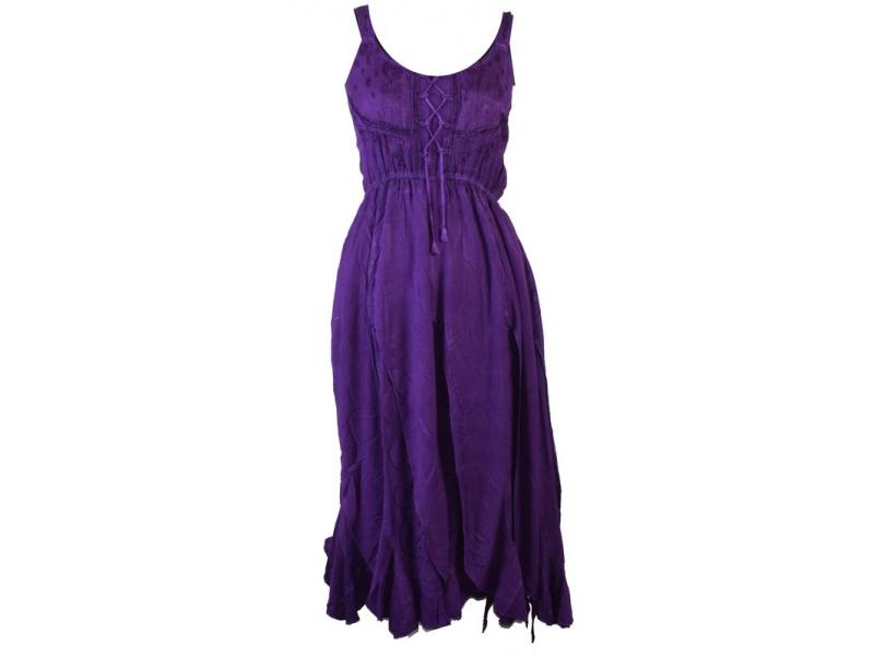 Dlouhé fialové šaty na ramínka, výšivka a ruční práce