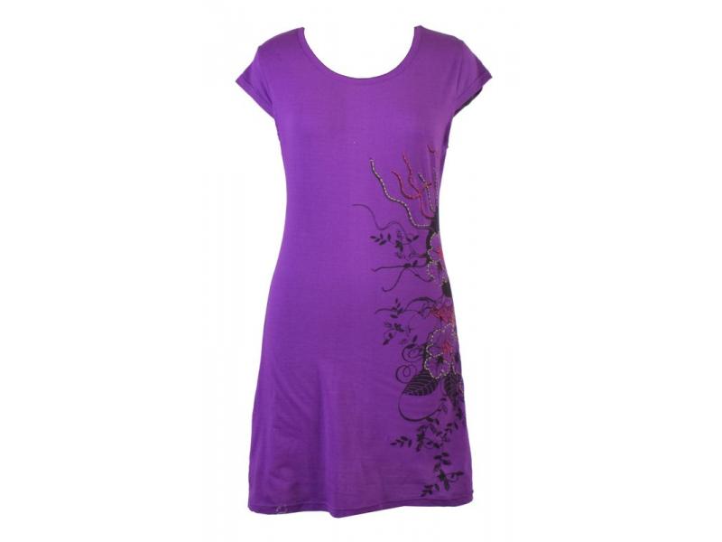 Fialové černé šaty s potiskem květin, výšivka