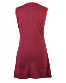 Krátké vínové šaty bez rukávů, s potiskem mandal a motýlů, výšivka