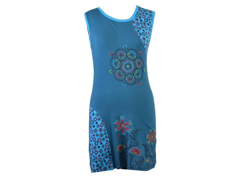 Krátké modré šaty bez rukávů, s potiskem mandal a květin, výšivka