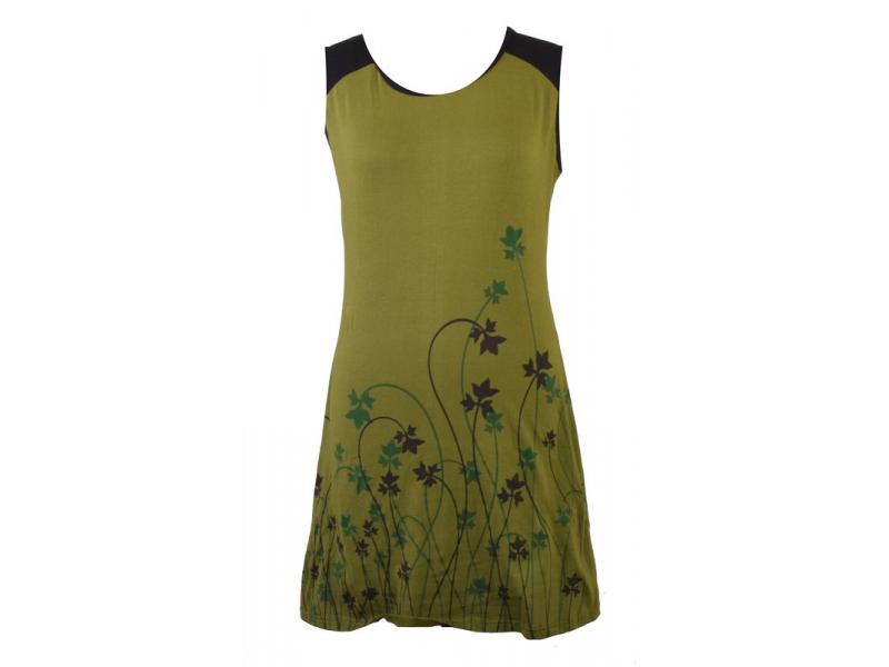 Krátké khaki šaty bez rukávů, s potiskem lístečků