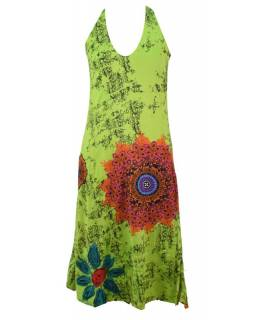 Dlouhé šaty bez rukávu s potiskem flower mandala, zelené