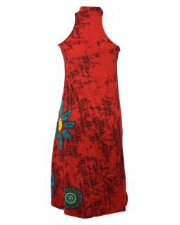 Dlouhé šaty bez rukávu s potiskem flower mandala, červené