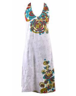 Dlouhé šaty bez rukávu s potiskem flower mandala, bílé