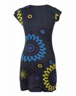 Černé šaty s krátkým rukávem a potiskem flower mandala