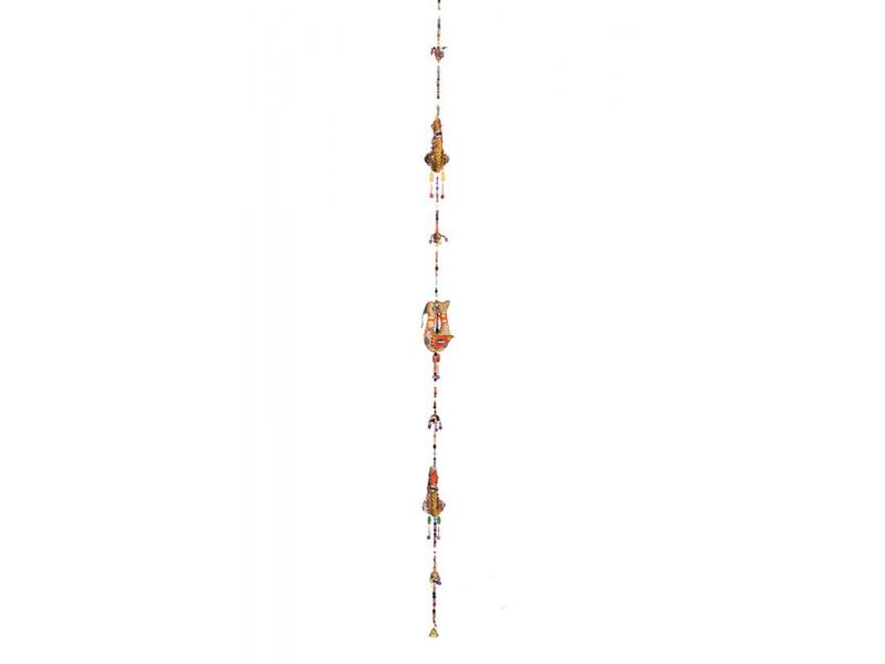 Dekorace k zavěšení, ptáčci, korálky zvonečky, délka 100cm
