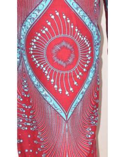 Vínové kalhoty z lehkého materiálu, modrý potisk