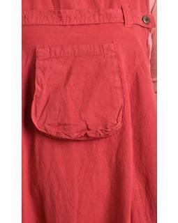 Vínové turecké kalhoty s laclem, rozepínání na knoflíky, kapsy