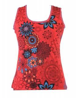 Červené tílko s potiskem, Flower design