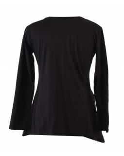 Černé triko s dlouhým rukávem s potiskem, Mandala design, výšivka