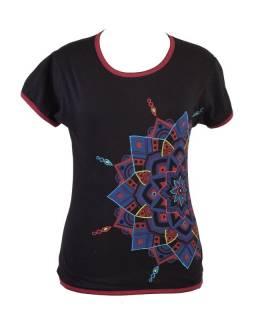 Černé tričko s krátkým rukávem, barevná výšivka, potisk