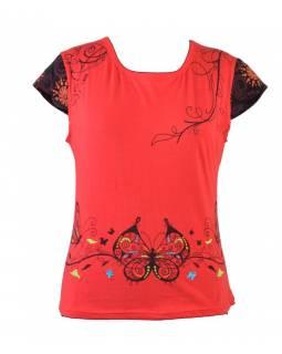 Červené tričko s potiskem motýlů a výšivkou