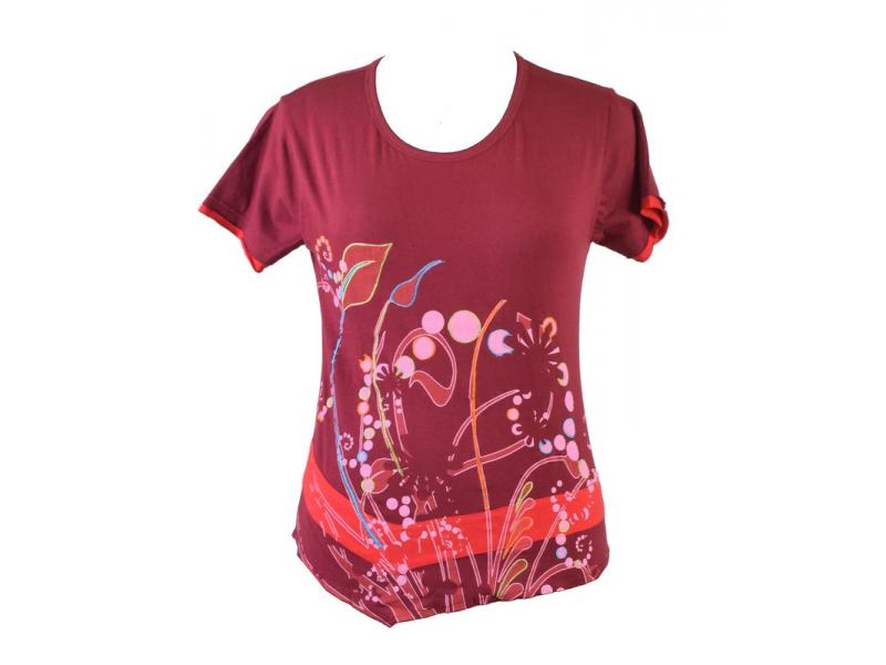 Vínové tričko s potiskem květin a výšivkou