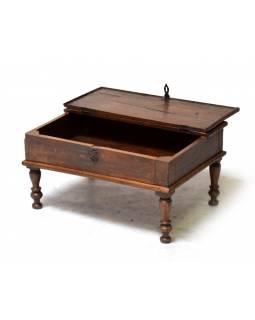 Starý kupecký stolek z teakového dřeva, 60x40x33cm
